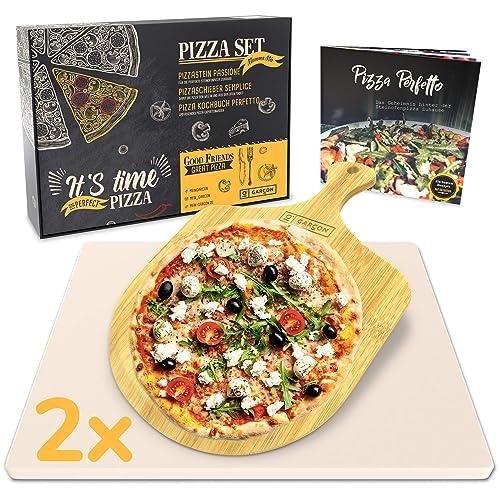 Garcon 2 x Pizzastein Set rechteckig für Backofen und Gasgrill - Pizza Stone - Pizzaschieber - Pizzakochbuch - 30 x 38 x 15cm
