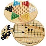 Toys of Wood Oxford Wooden Chinese Checkers and Gobang (Five in a Row) 2 in 1 board game - Family Board Games for Kids and Adults