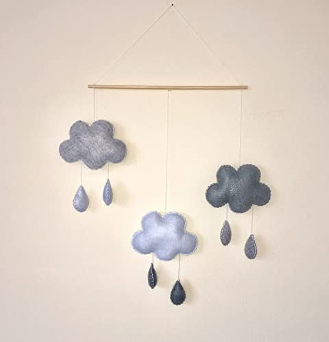 Monochrome Cloud Rain Nursery Decoration Baby Mobile Wall Hanging Decor