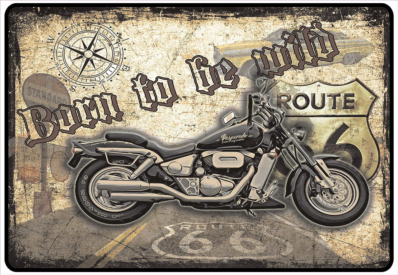 Netspares 140081230/ Schild Hinweisschild Hinweis Born to be Wild Bike Chopper Life Ride
