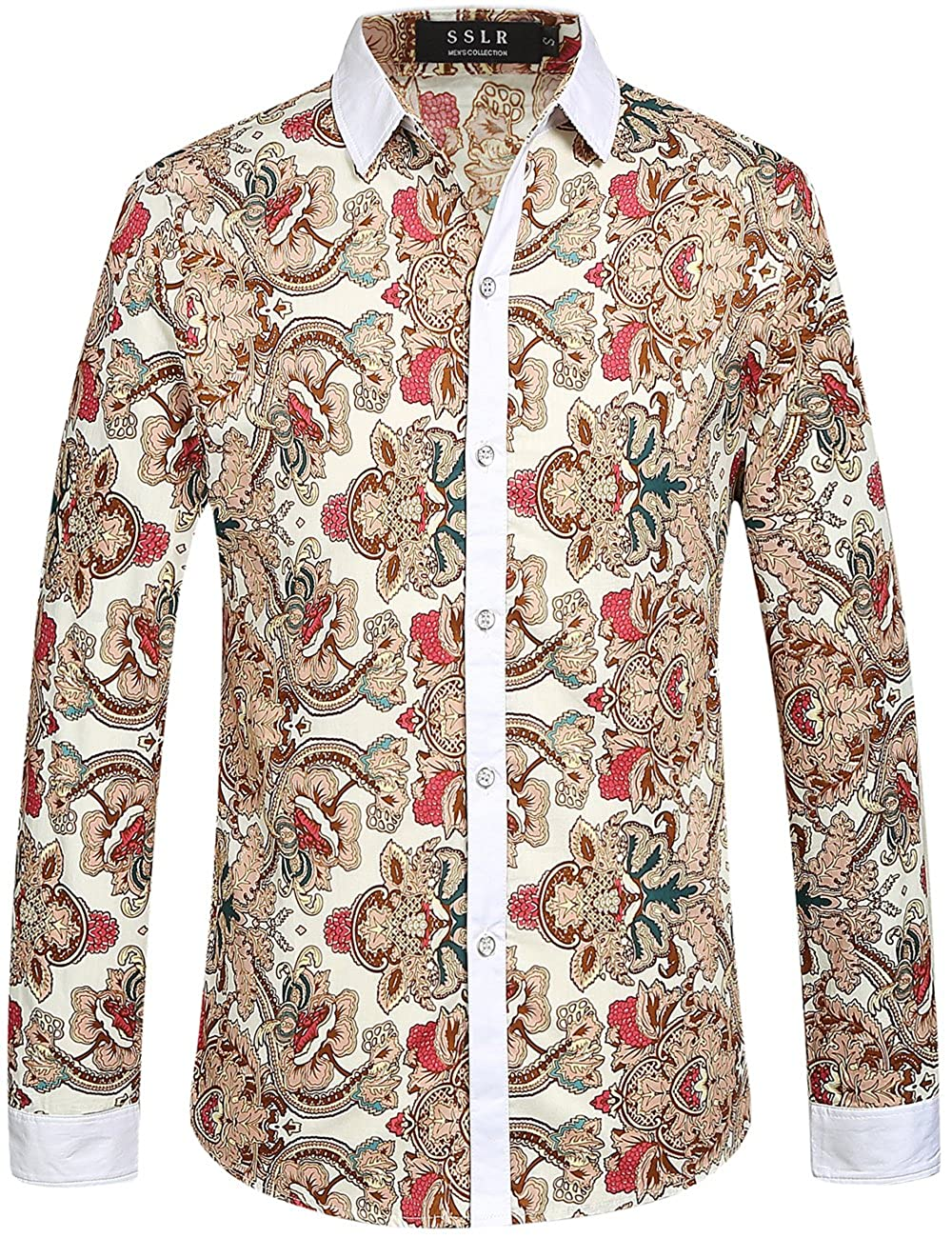 60s , 70s Hippie Clothes for Men SSLR Mens Vintage Printed Button Down Casual Long Sleeve Shirt $26.00 AT vintagedancer.com