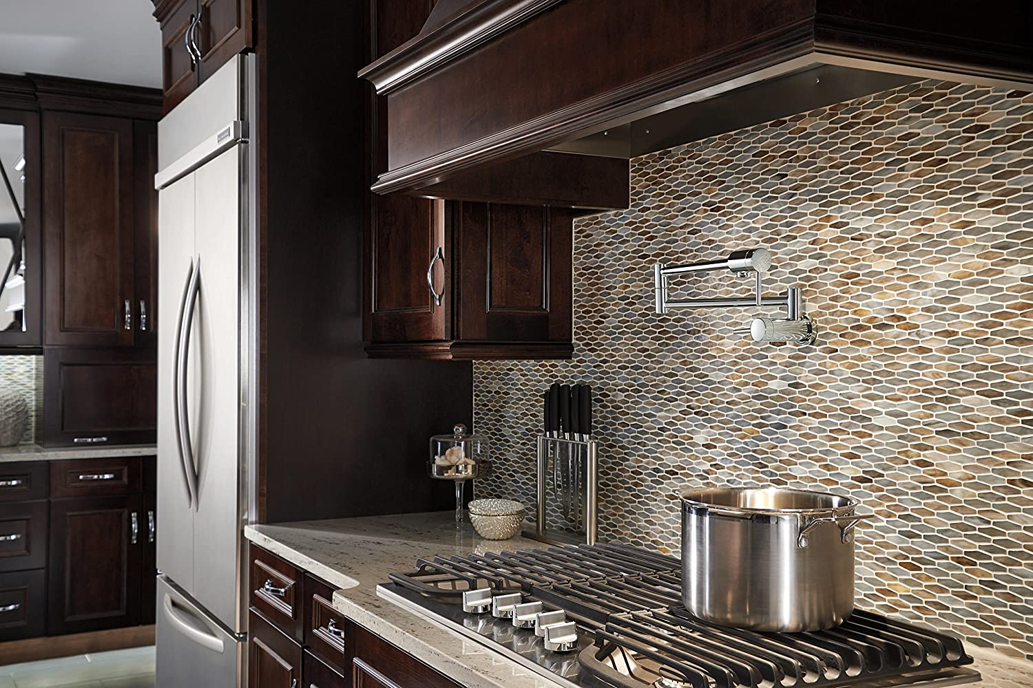 transitional mosaic filler other innovative hood oven faucet mixer remodeling cabinets black ideas tile style mode neutral with frosted stove glass pasta metro pot baroque kitchen backsplash colors