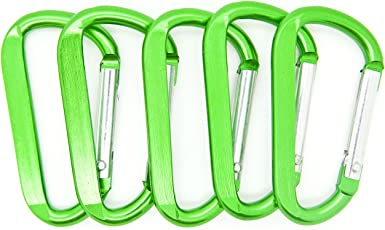 Carabiner Aluminum 70mm Green Color with Key Ring key door