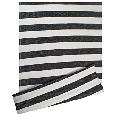DII Contemporary Indoor/Outdoor Lightweight Reversible Fade Resistant Area Rug, Great For Patio, Deck, Backyard, Picnic, Beach, Camping, & BBQ, 4 x 6', Black/White 3.5  Stripe