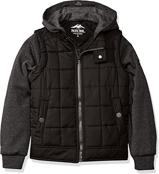 Pacific Trail Boy/'s Puffer Vest with fleece hood and sleeves