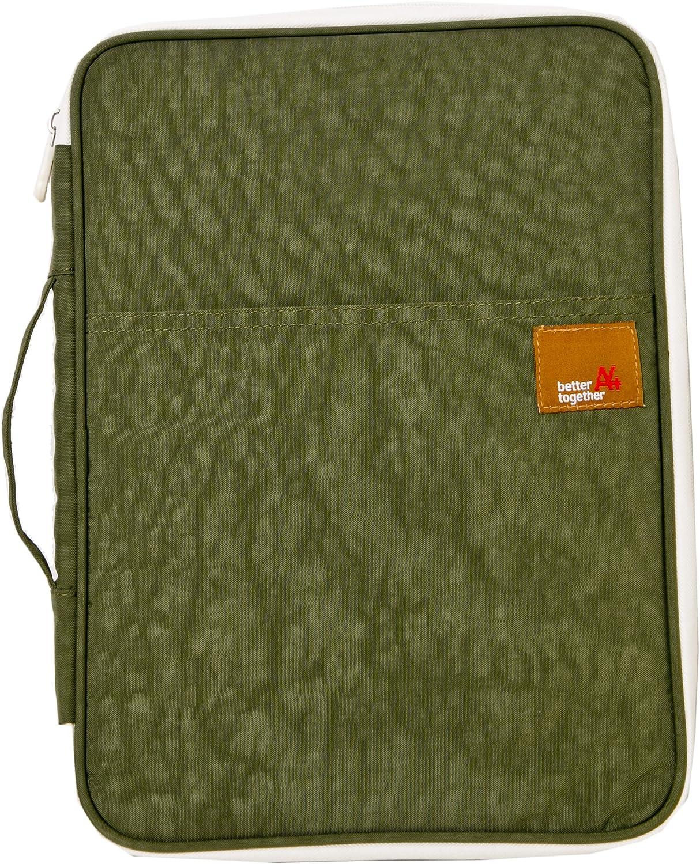 iSuperb A4 Documents Bag Multifunction Files Organizer Messenger Handbag Storage for Travel Office 13.4x9.8x1.4 inch(Army Green)