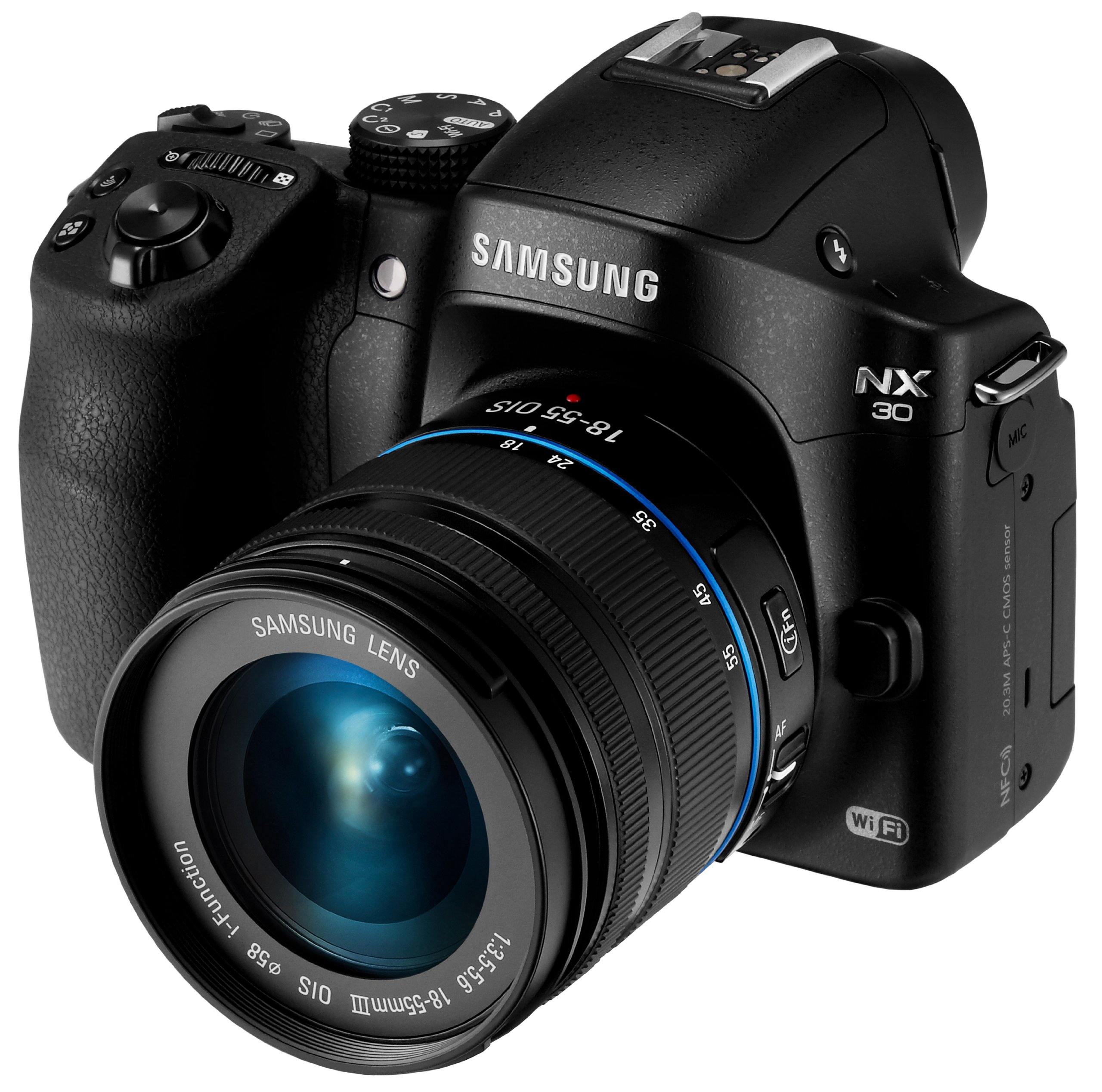 Samsung NX30 20.3MP CMOS Smart WiFi & NFC Mirrorless Digital Camera with 18-55mm Lens and 3'' AMOLED Touch Screen and EVF (Black)