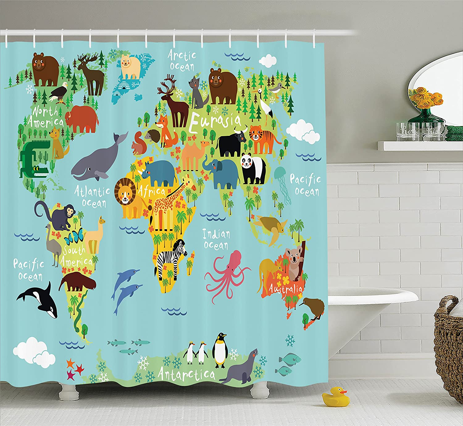 Ambesonne Wanderlust Shower Curtain Decor, Animal Map of The World for Children and Kids Cartoon Mountains Forests Image, Polyester Fabric Bathroom Shower Curtain Set with Hooks, Green Yellow Blue