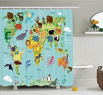 Worksheet. Amazoncom Wanderlust Shower Curtain Decor by Ambesonne Animal