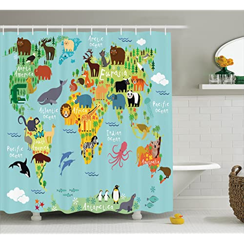 Ambesonne Wanderlust Shower Curtain Decor Animal Map Of The World For Children And Kids Cartoon