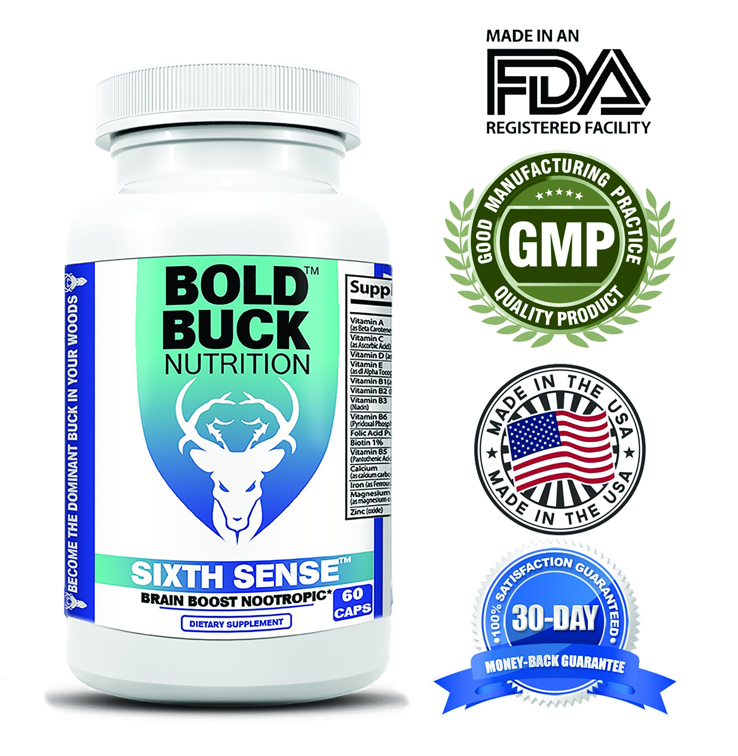 Sixth Sense - Powerful Brain Boost Nootropic - All Natural - Made in the USA - GMP Certified Facility - Easy Open Pressure Seal - Improve Memory, Concentration, Mental Clarity, Focus - Boost Mood