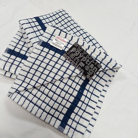 CATERTEX por punzón 3 Pack algodón egipcio Terry Superdry Mono Check Azul/Blanco Toallas de