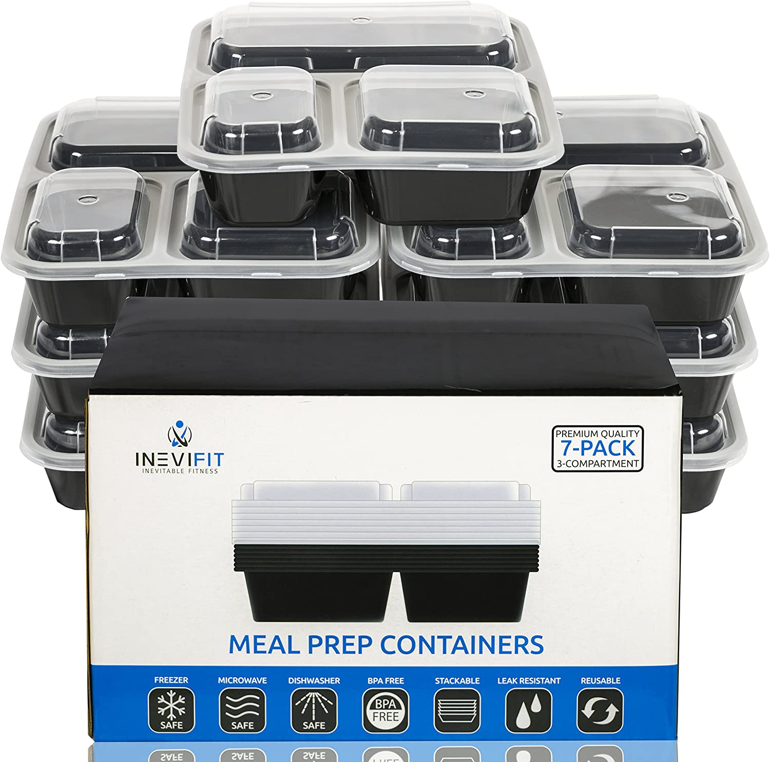 INEVIFIT Meal Prep 3 Compartment BPA FREE, Premium Food Storage Containers, Durable & Reusable, 36 oz. Stackable 7 Pack, Microwaveable & Dishwasher Safe Bento Lunch Box with Leak Resistant Technology