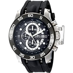 Invicta Mens 19251 I-Force Stainless Steel Watch With Black Synthetic Band