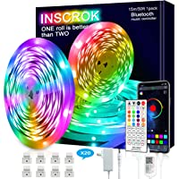 Bluetooth LED Strip Lights 15m,Inscrok LED Light Strips Controlled by Smart Phone APP,Music Sync LED Lights Strip for…