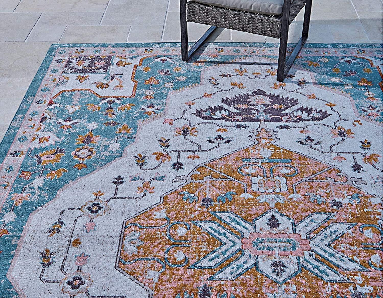Gertmenian 22125 Bohemian Outdoor Rug Distressed Patio Outside Boho Carpet 8x10 Large Abstract Medallion Center Denim Green Amazon Ca Home Kitchen