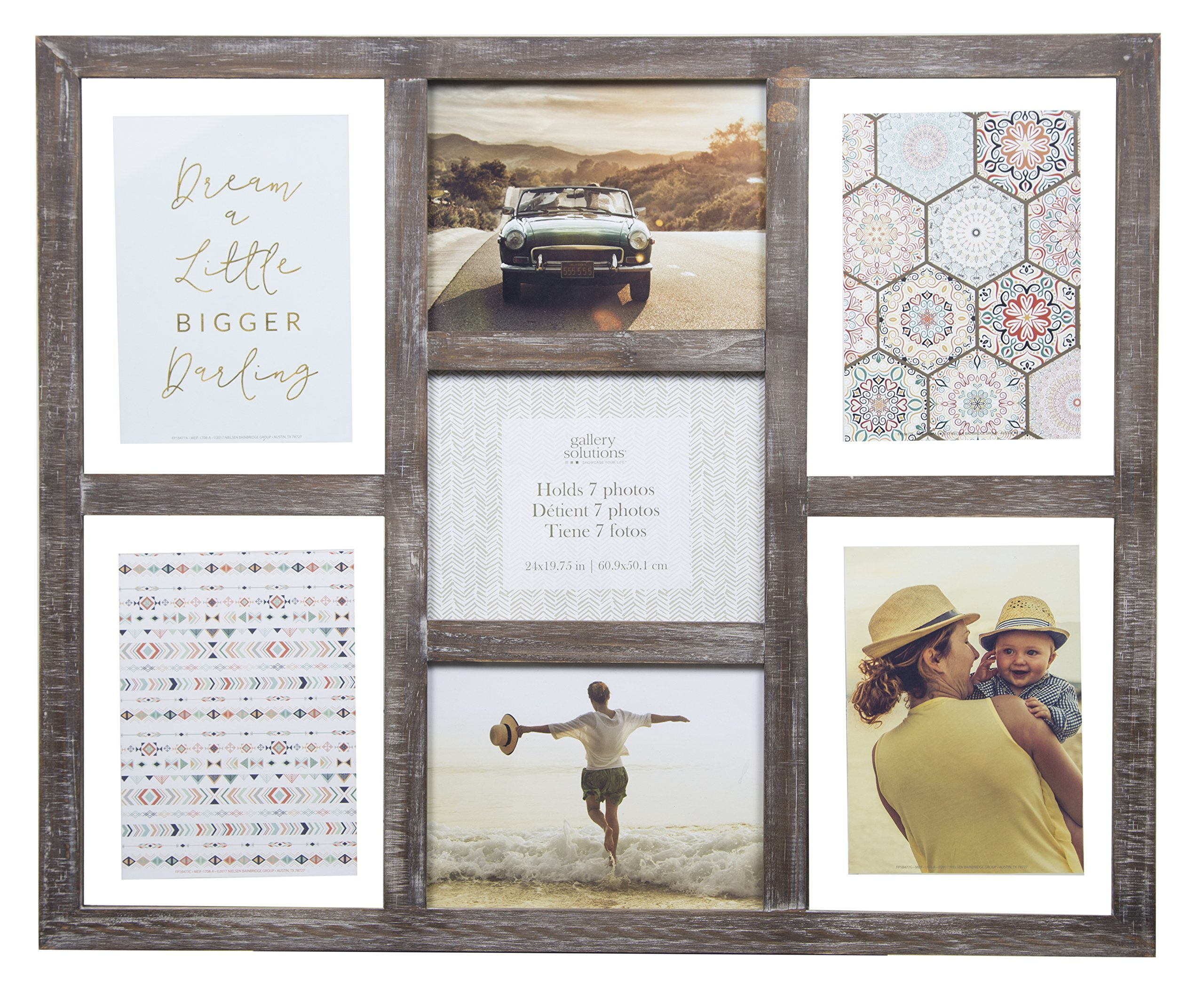 Gallery Solutions Rustic Greywash 7 Opening Collage Float Picture Frame by Gallery Solutions