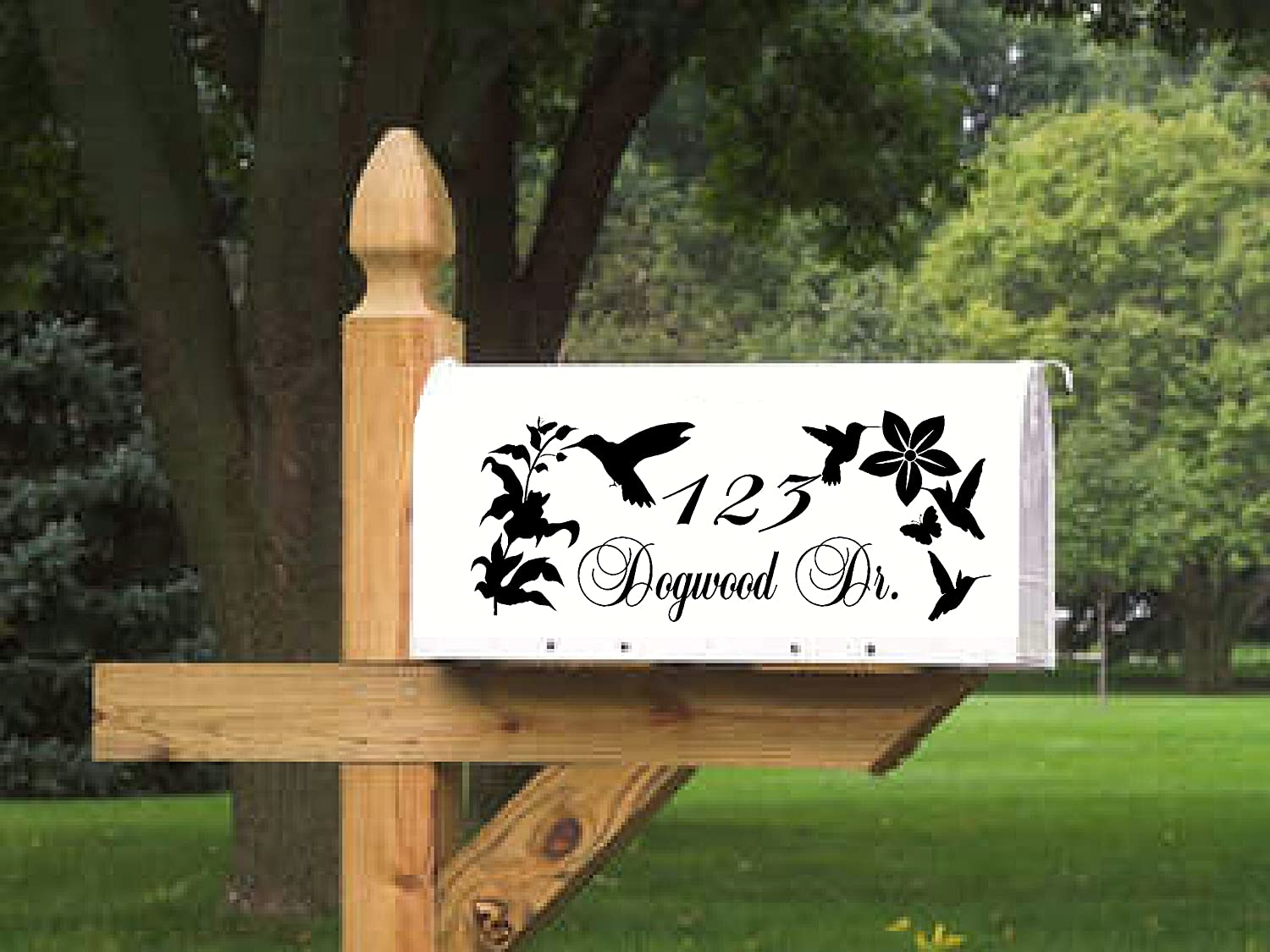 Hummingbird Butterfly Mailbox Lettering for 2 sides, Personalized, Vinyl Die Cut Decals Sticker, Yard Sign, Monarch, Moth, Spring