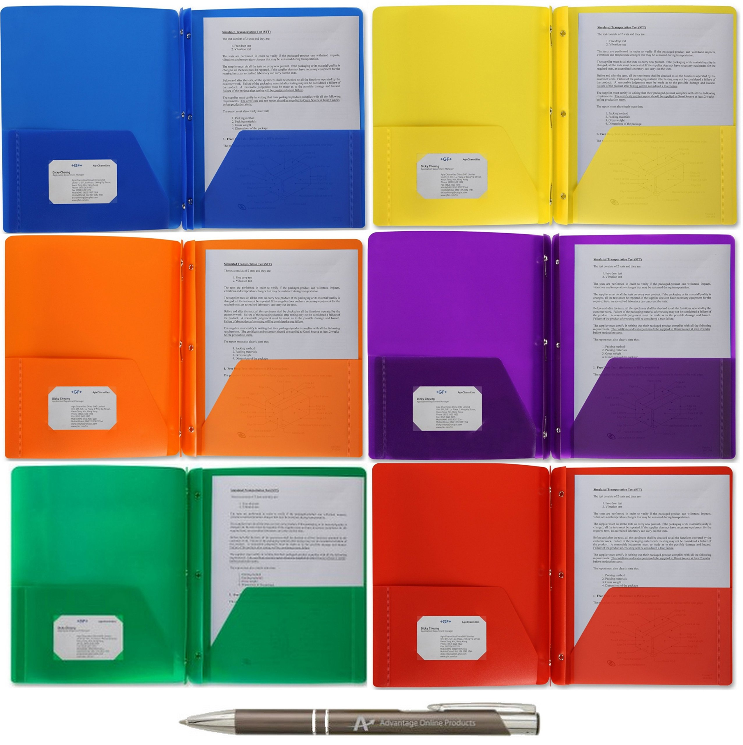 5 Pack BSN Poly Portfolio Report Covers, 3 Hole Punched with Prongs, 8.5 x 11, 5 Pack Assorted Colors with Bonus AdvantageOP Black and Chrome Retractable Pen