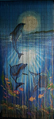 ABeadedCurtain 125 String Tropical Reef Dolphins Beaded Curtain 38 More Strands Handmade with 4000 Beads Hanging Hardware