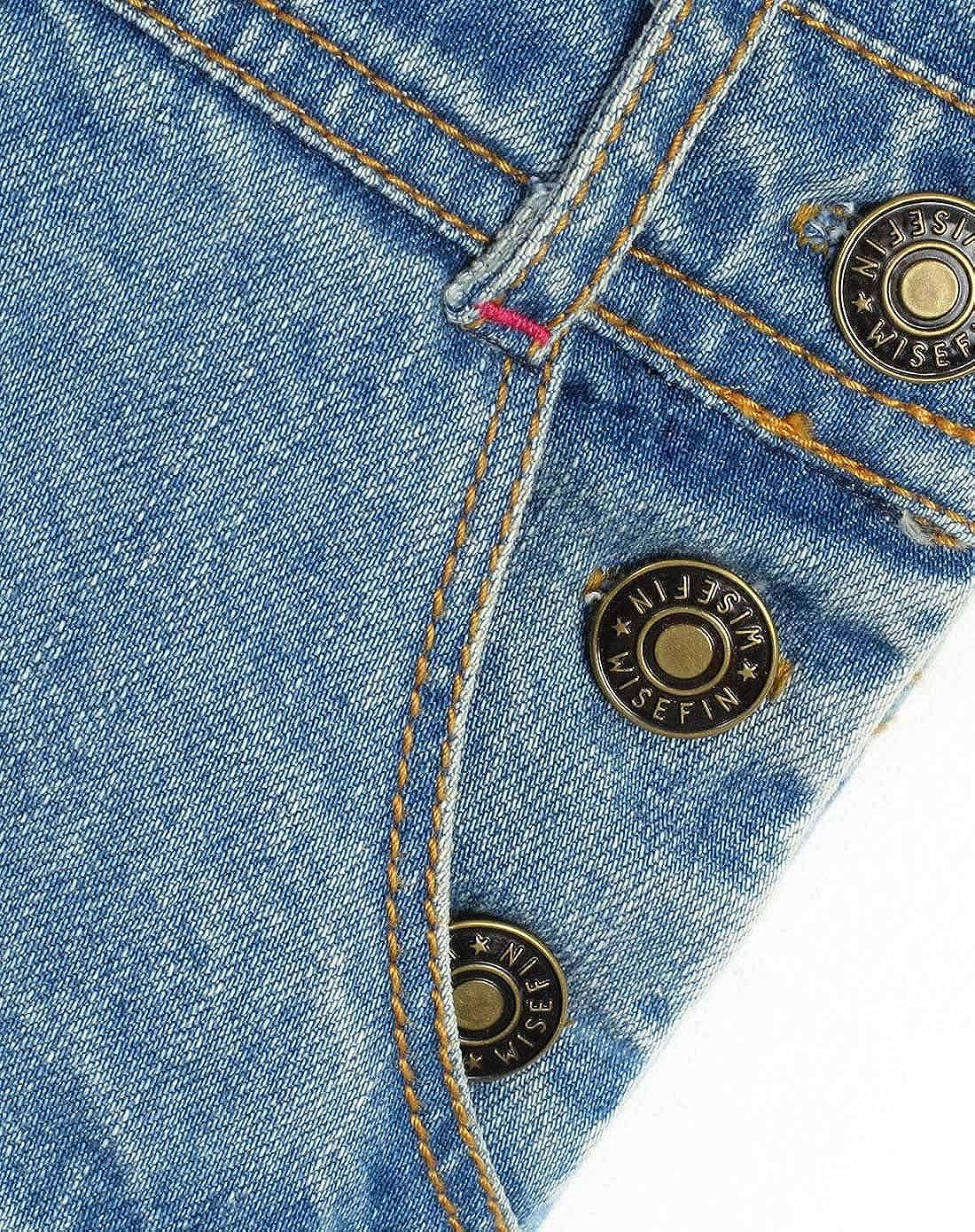 wisefin Girls Fashion Casual Strap Denim Shorts for Bigger Kids 5-17 Years