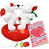 Valentines Day Gifts for Her Girlfriend Women and Wife Plush Valentines Talking Kissing Bears, 5 Inch Forever Glass Rose in Gift Box and Valentines Card
