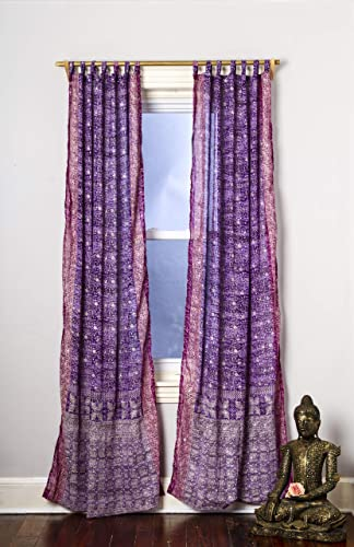 Purple Magenta Curtain Boho Window Treatment Light Sari 108 96 84 inch for Bedroom Living room Dining room Kids Yoga Studio Canopy Bed Tent Hippie Gypsy Chic Bright Colorful HomeDecor W Gift bag