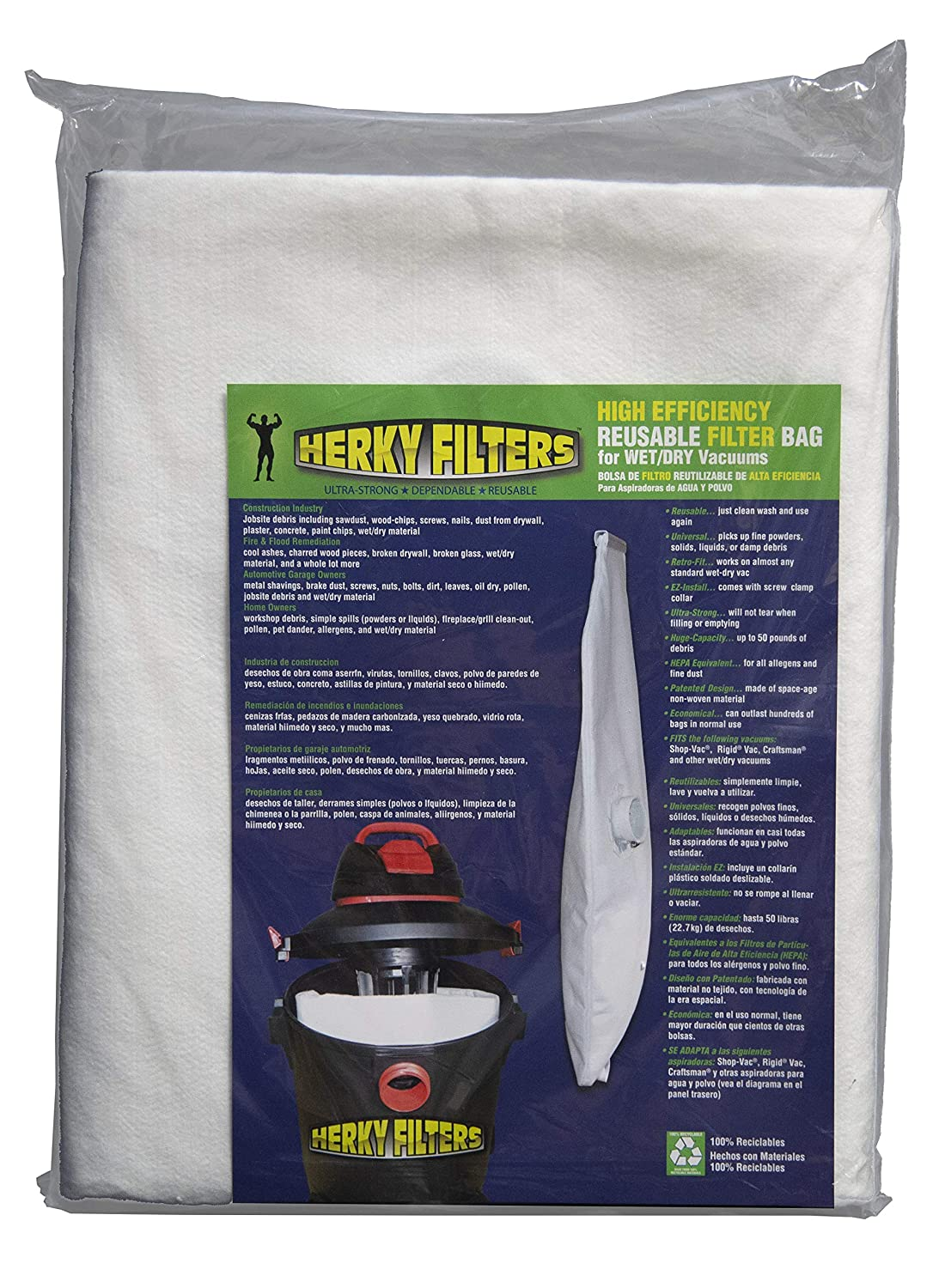 Medium Reusable Filter Bag for Wet/dry Vacuums