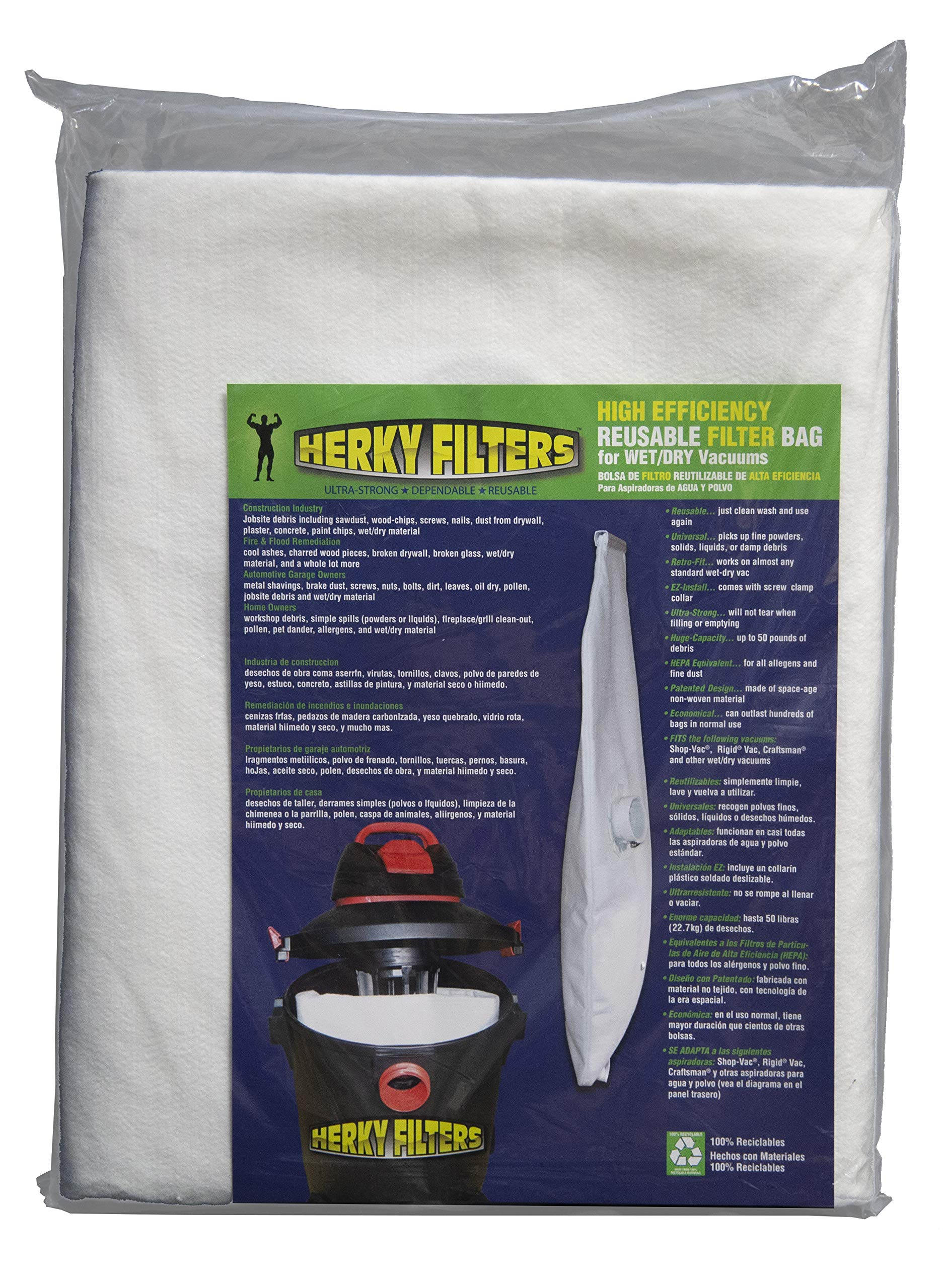 Medium Reusable Filter Bag for Wet/dry Vacuums by Herky Filters
