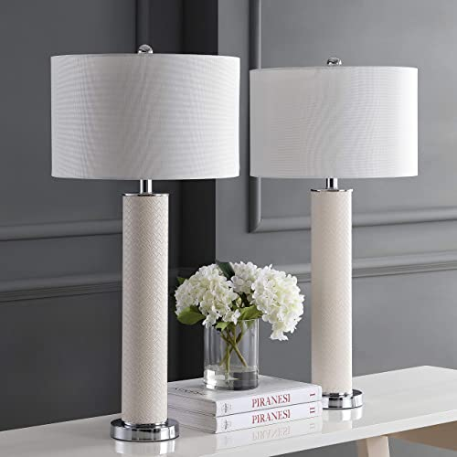 Safavieh Lighting Collection Ollie Cream Faux Woven Leather 31.5-inch Table Lamp Set of 2