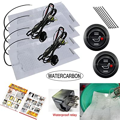 WATERCARBON Water Carbon 12V Premium Heated Seat Kits for Two Seats Universal, Electronic Equipment, Dual Settings (Waterproof High-Low Round Switch 2 Seats): Car Electronics
