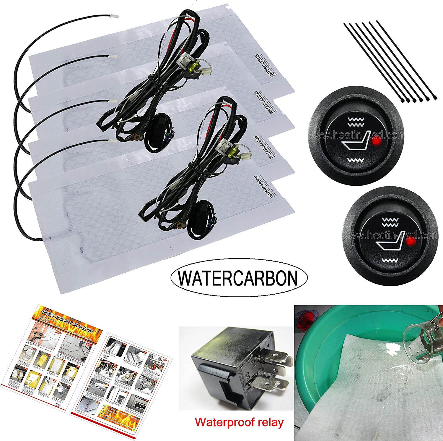 Electronic Equipment WATERCARBON Water Carbon 12V Premium Heated Seat Kits for Two Seats Universal Dual Settings 28mm/×28mm L//M//H 3-Gear Heating Switch Waterproof