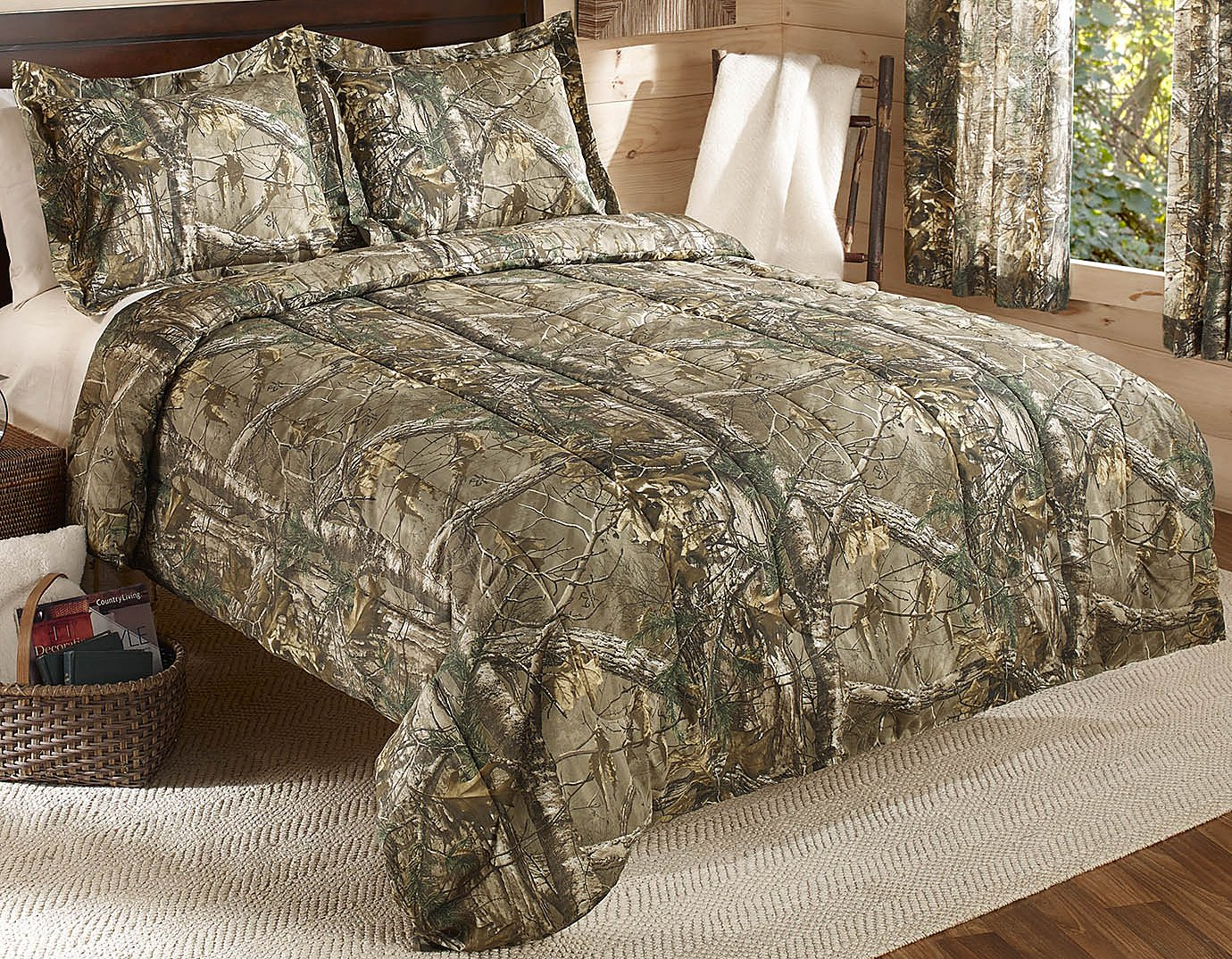 grey rustic print trees nature pin new camo bedding country truetimber queen white bed snow set