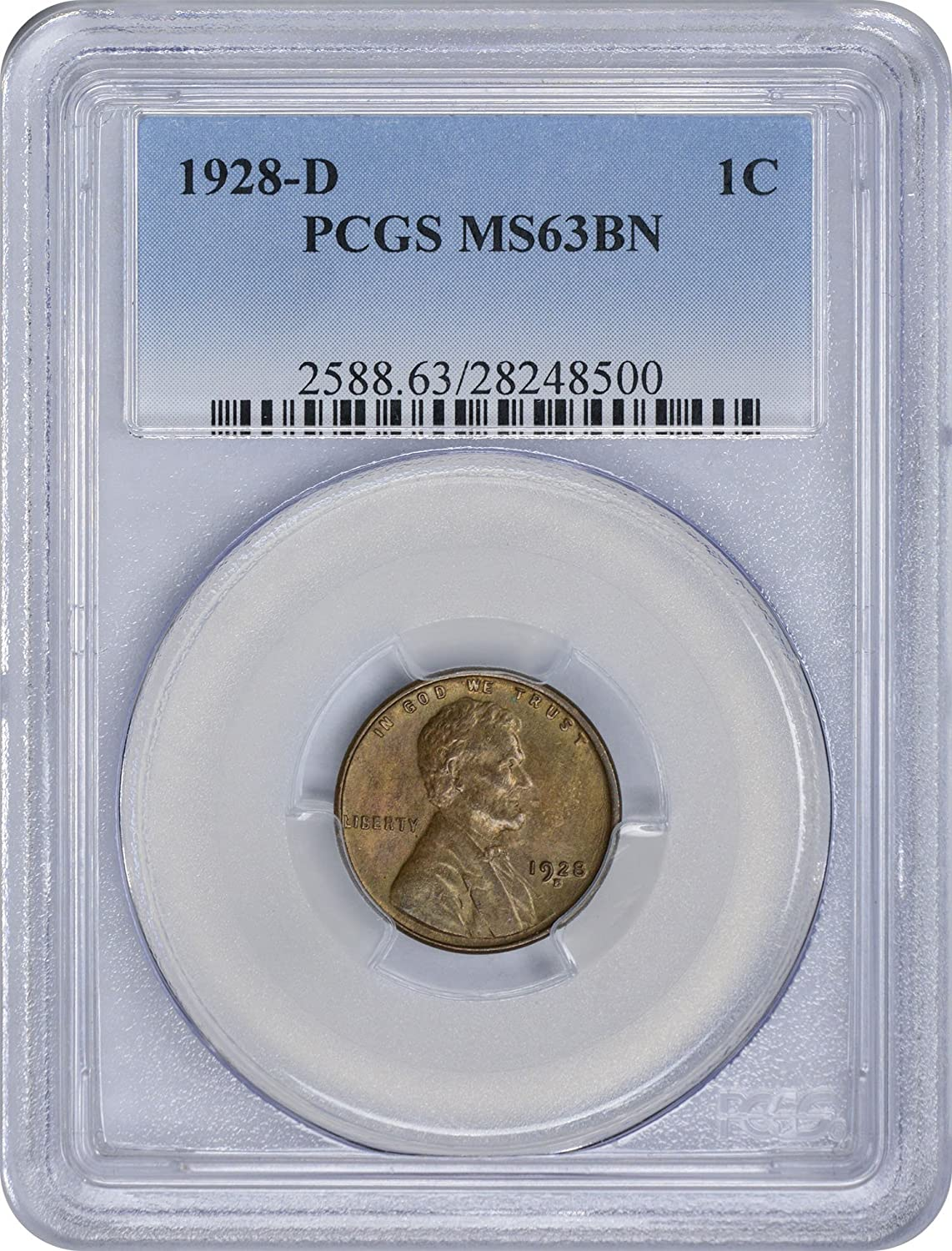 1928-D Lincoln Cent MS63BN PCGS Mint State 63 Brown