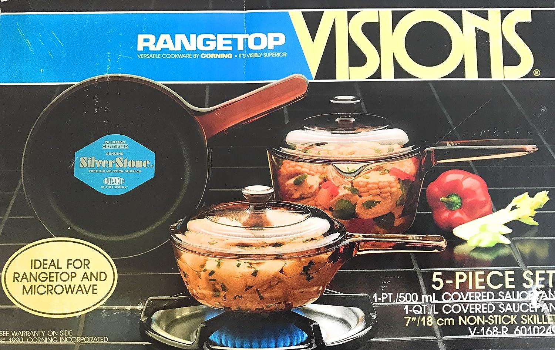 Corning visiones visionware visión Ware - Batería de cocina de 5 piezas (7 Inch ámbar Skillet, pequeño .5l Salsa Cacerola w/tapa y pequeño 1L Salsa Cacerola ...
