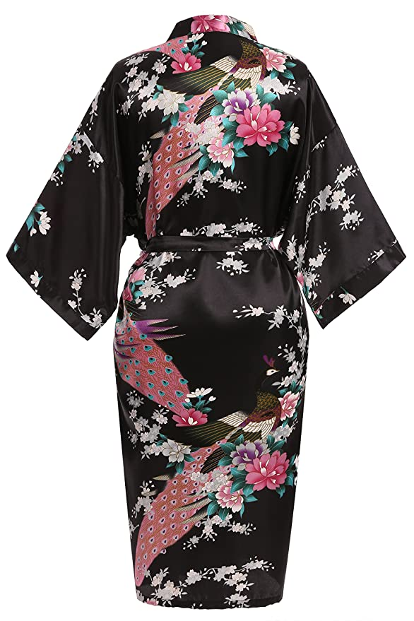 USDisc t Elegant Short Sleeve Printing Peacock Silk Women s Kimono Robe for Parties  Wedding Bridal and Bridesmaid at Amazon Women s Clothing store  5beef25a0