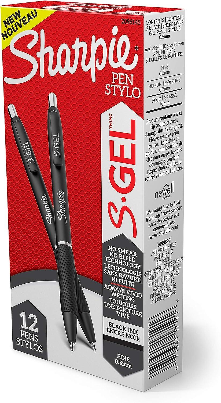 Black Ink Gel Pen 0.5mm 12 Count Fine Point Gel Pens