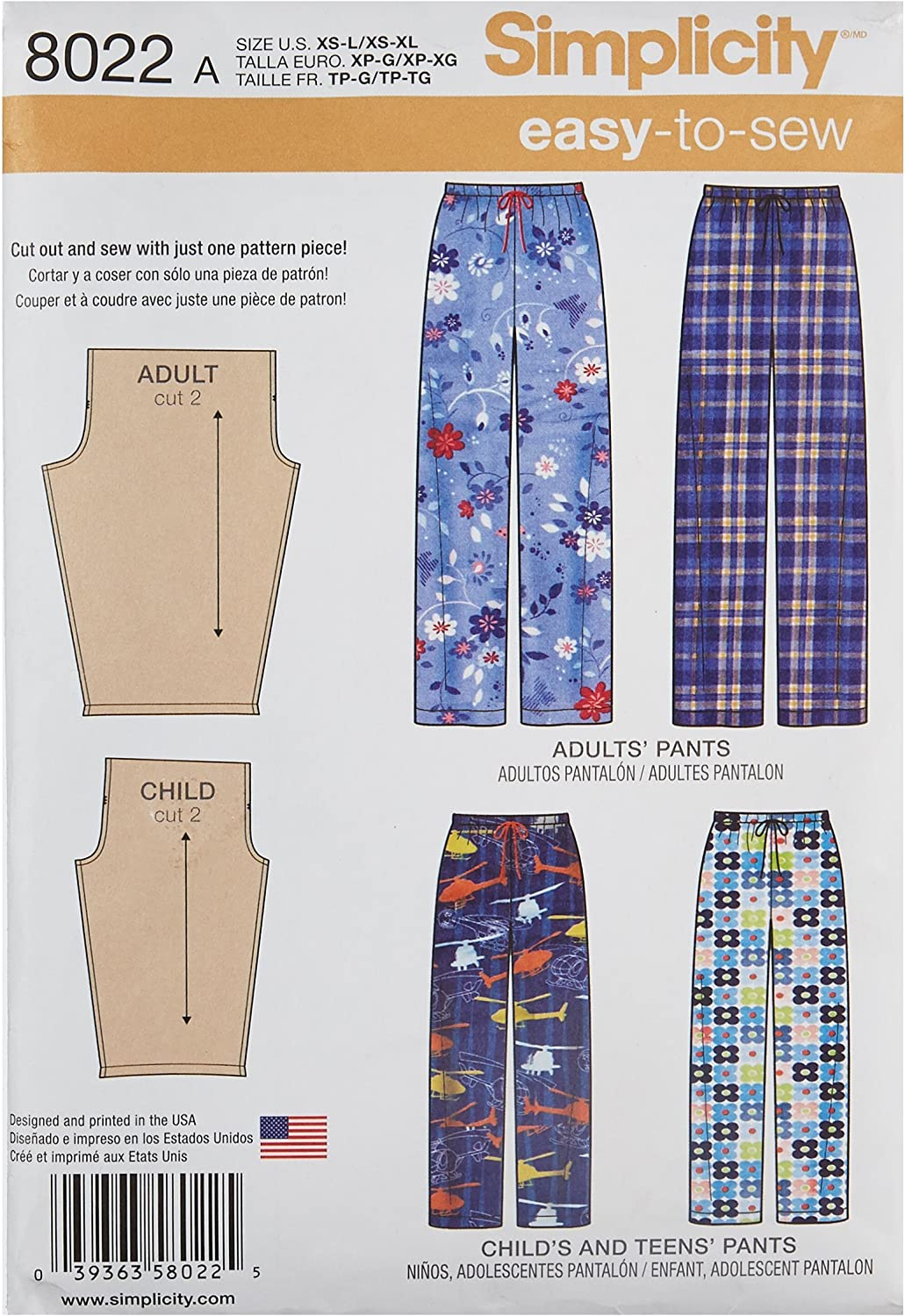 Simplicity Creative Patterns US8022A Childs 8022 Renewed Xs - L//Xs - XL Teens and Adults Pants Size: A