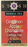 Stash Tea Cinnamon Apple Chamomile Herbal Tea, 20 Count Tea Bags in Foil (Pack of 6)