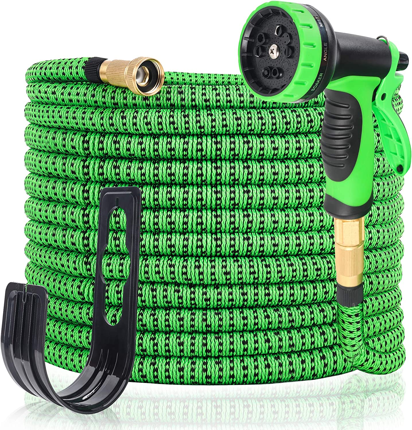 """Decoroca 100FT Expandable Garden Hose - Gardening Flexible Hose with Free 10 Function Spray Nozzle, Triple Latex Core Lightweight Water Hose, 3/4"""" Solid Brass Connectors, Retractable Outdoor Yard Hose"""