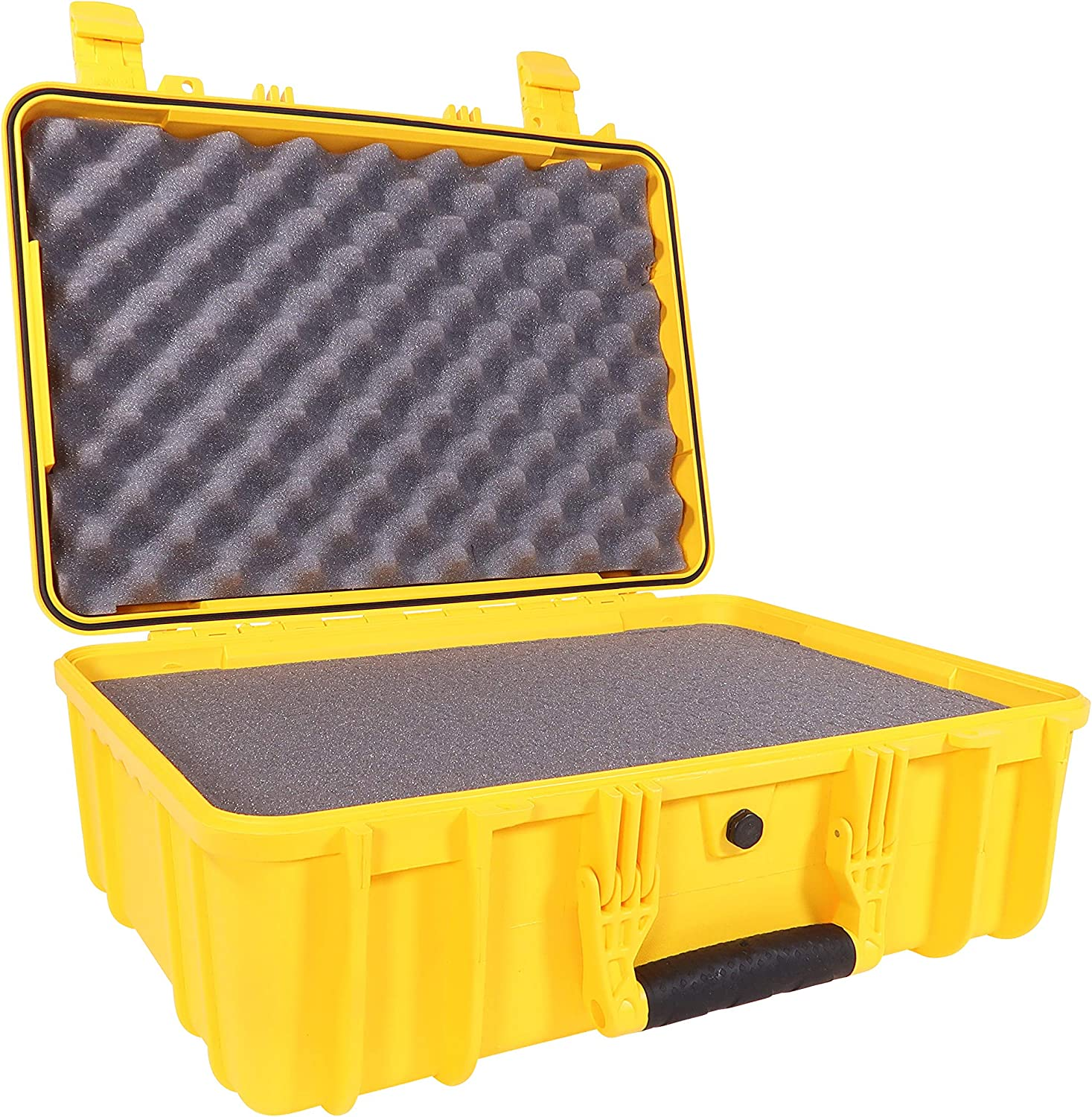 """Condition 1 18"""" Medium Waterproof Protective Hard Case with Foam, Yellow - 18"""" x 14"""" x 7"""" #801 Watertight IP67 Rated Dust Proof and Shock Proof TSA Approved Portable Trunk Carrier"""