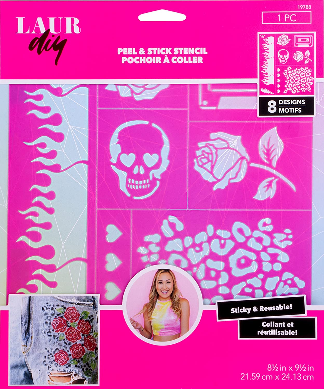Large 8.5 x 9.5 Pink Vintage Rebel LaurDIY 19788 Peel /& Stick Stencil