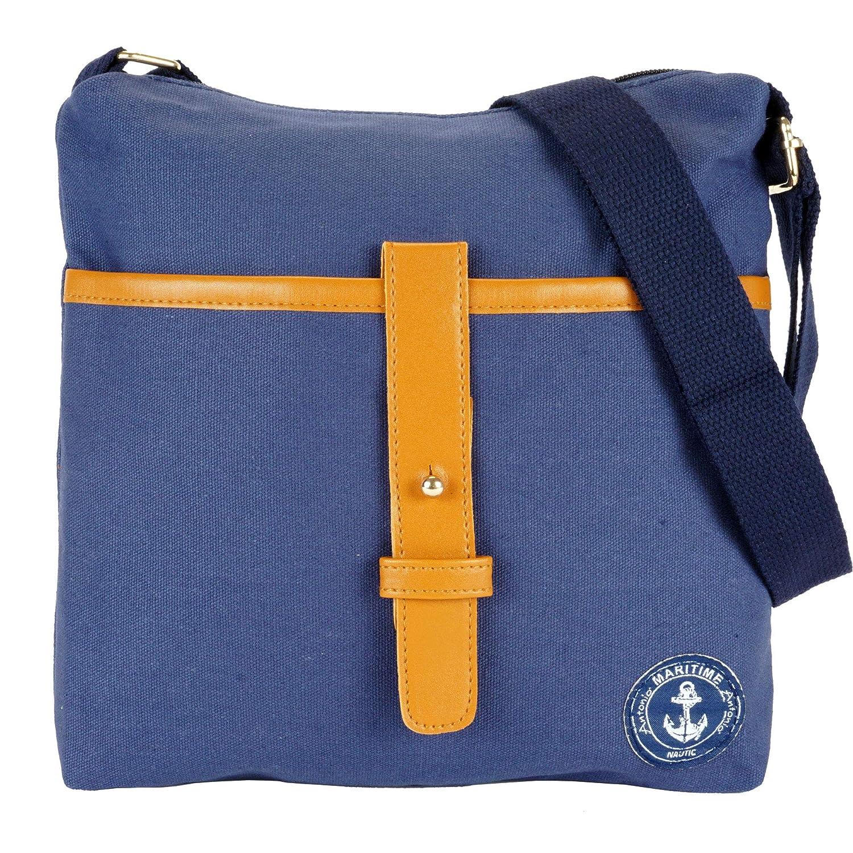 Umhängetasche Damen Schultertasche im Marine Look blau Uni gestreift Canvas Damentasche (blau Uni)