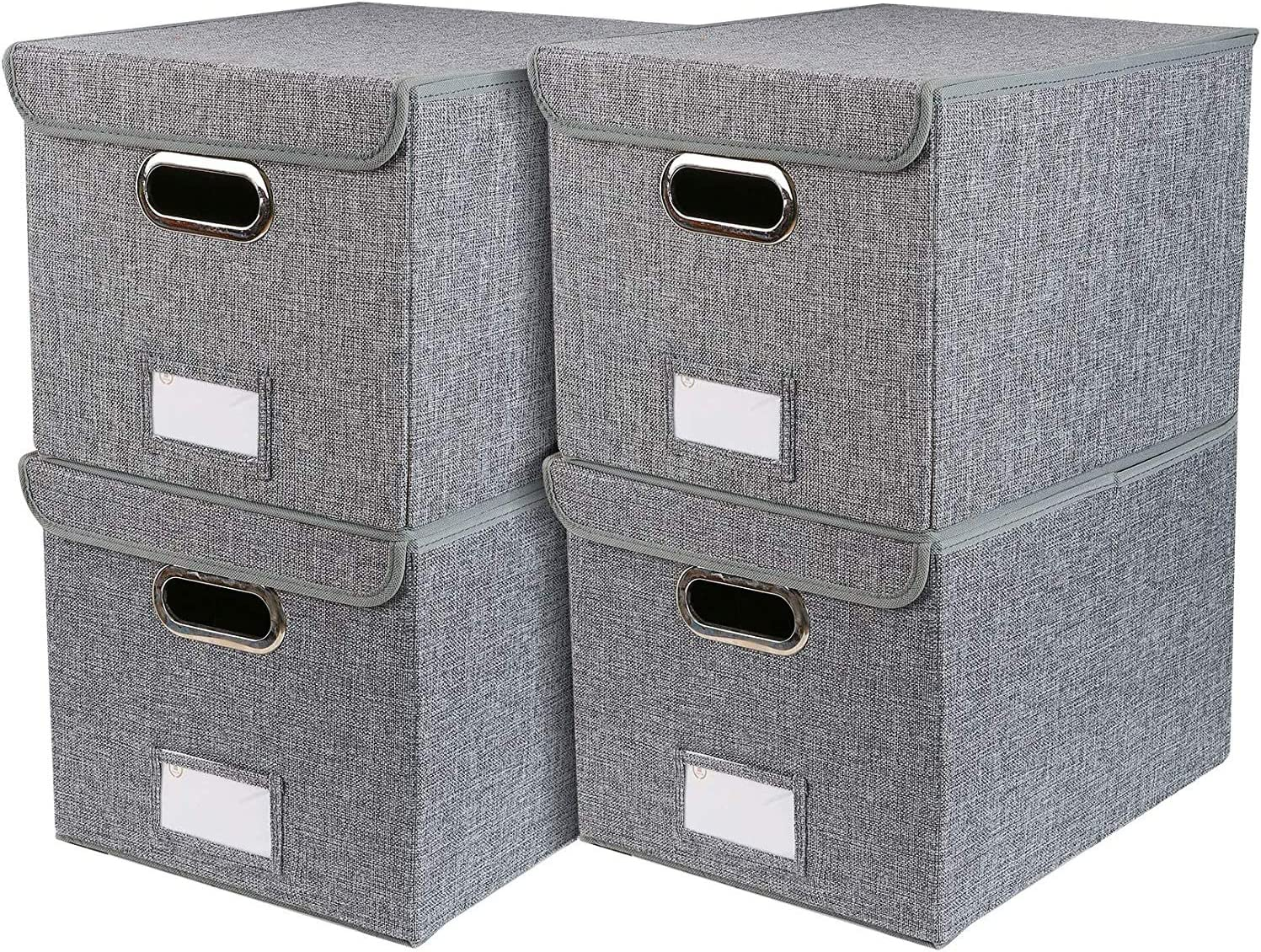 Collapsible File Box with Lid Decorative Documents Storage Organizer with Linen Filing, Home Office Bin, Letter Size Legal Size, Gray,[4-Pack]
