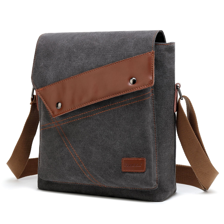 a10507e7f96f UtoteBag 10.6 Inch Small Messenger Bag for Men Boy Canvas Vertical Travel  Crossbody Bag Shoulder Bag Fit iPad,Dark Grey