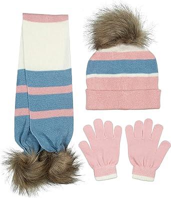 Girls 2-Piece Pom Pom Scarf /& Gloves Set