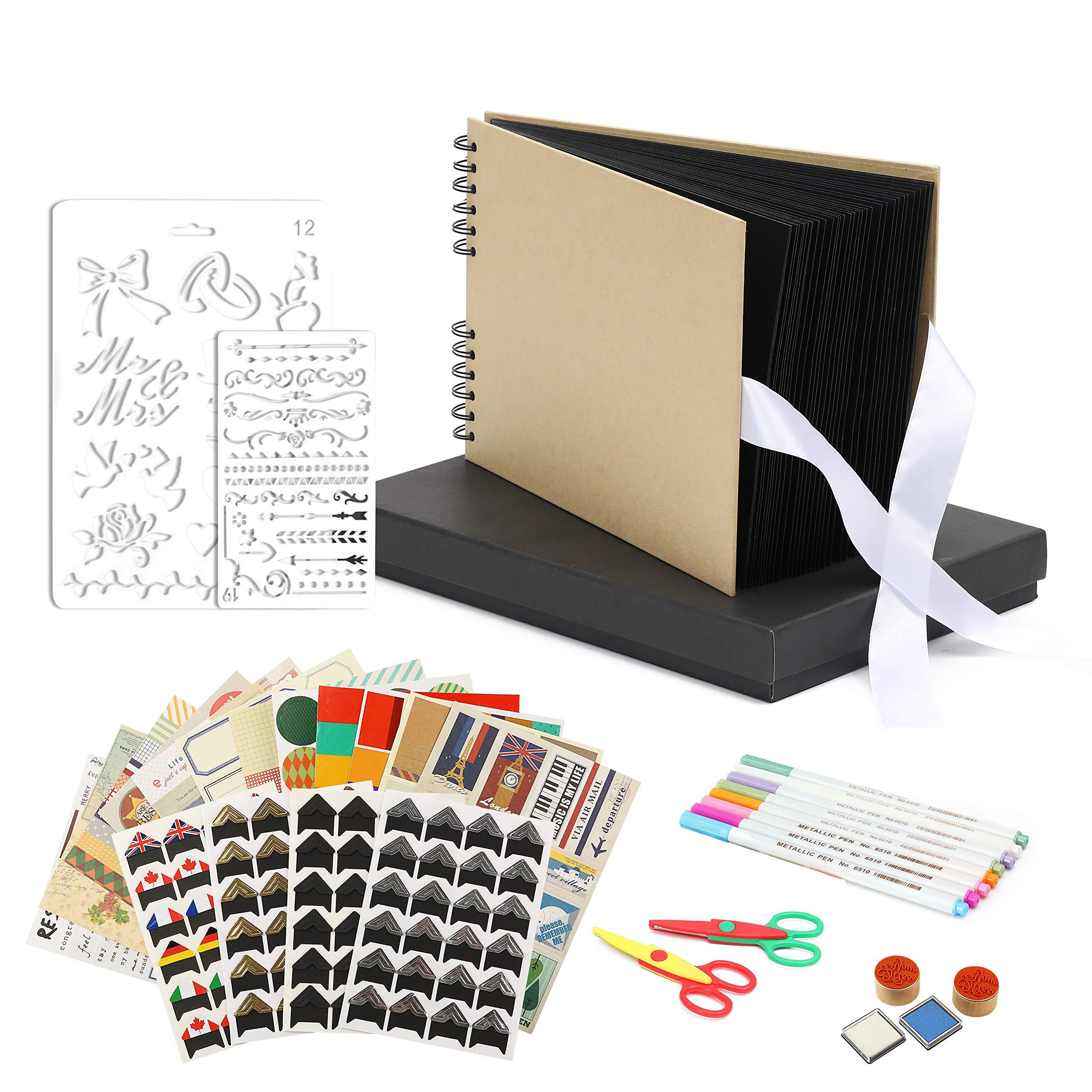Scrapbook Photo Album DIY Kit Baby Scrapbook Album Wedding Guest Book Anniversary Scrapbook School Memory Book Keepsake Album Handmade DIY Album with Bonus Gift Box Black Paper 80 Pages