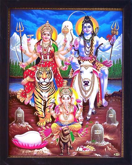 Shiva con Durga y Ganesha en Himalaya, todos están sentado su viaje, un póster de pintura