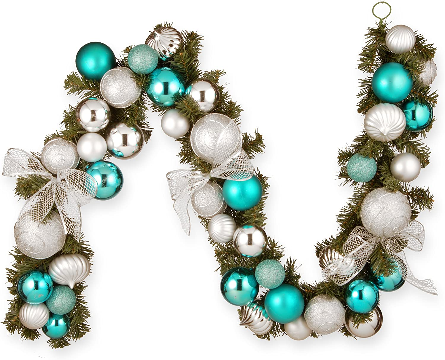 National Tree 6 Foot Silver and Blue Mixed Ornament Garland (RAC-16004)