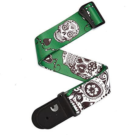 Planet Waves P20W1411   2-Inch Woven Guitar Strap   Sugar Skulls    Green